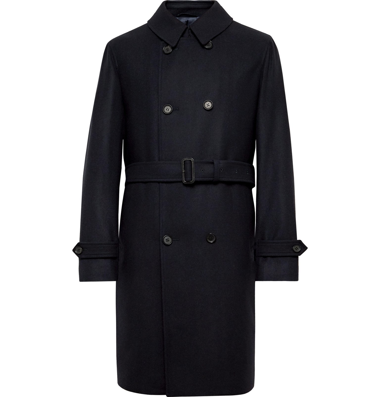 Photo: Beams F - Double-Breasted Wool and Cashmere-Blend Trench Coat - Blue