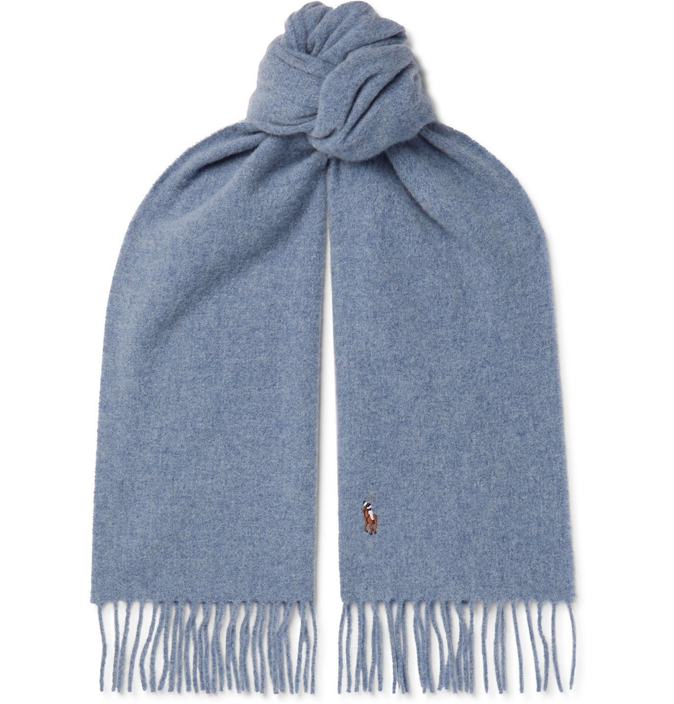 Photo: POLO RALPH LAUREN - Logo-Embroidered Fringed Wool Scarf - Blue