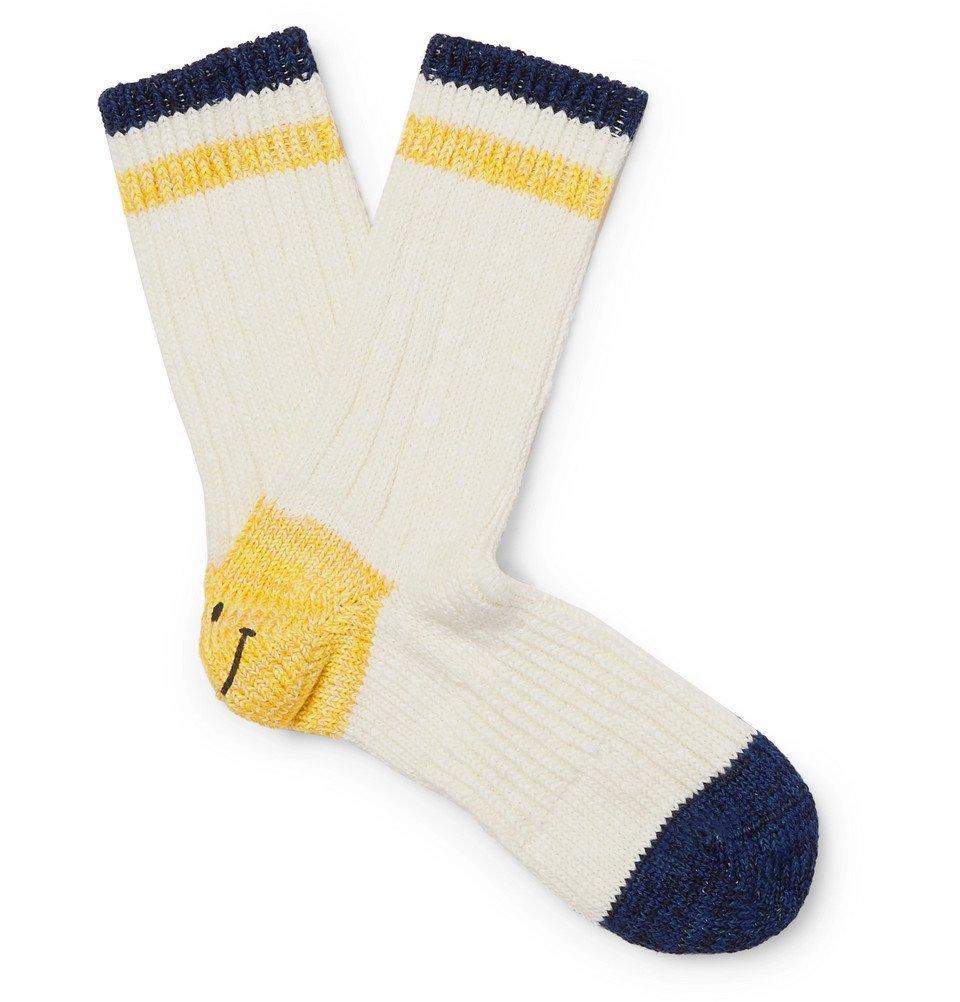 Photo: KAPITAL - Smiley Striped Cotton and Hemp-Blend Socks - White