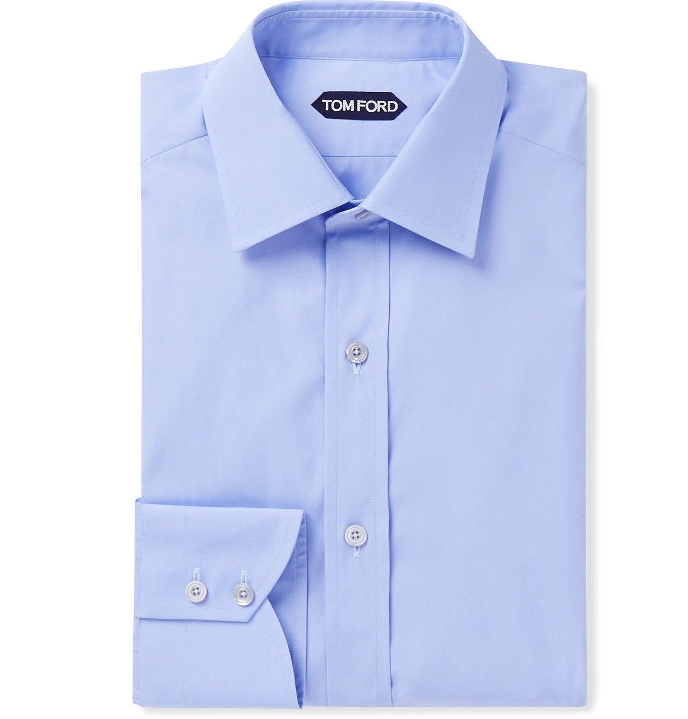 Photo: TOM FORD - Slim-Fit Cotton-Poplin Shirt - Blue