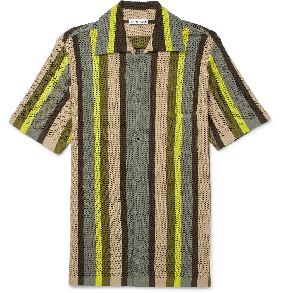 Photo: CMMN SWDN - Wes Striped Knitted Cotton Shirt - Green