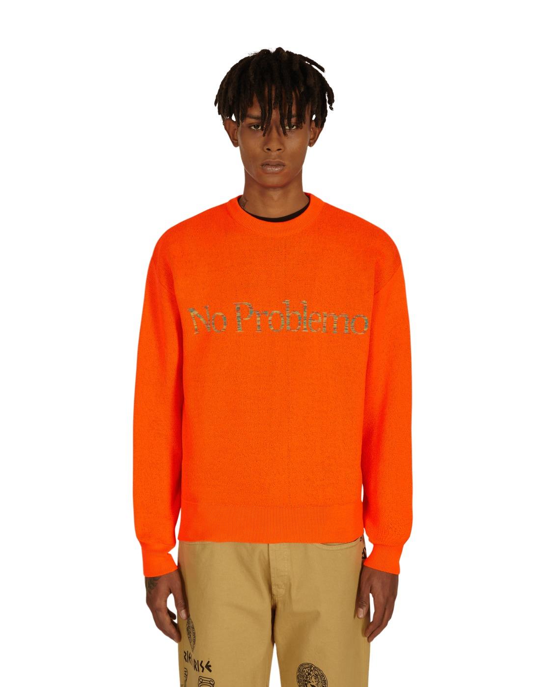 Photo: Aries Space Dye No Problemo Knit Sweater Orange