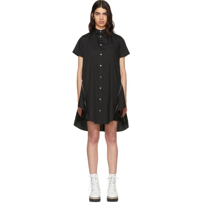Sacai Black Poplin Dress