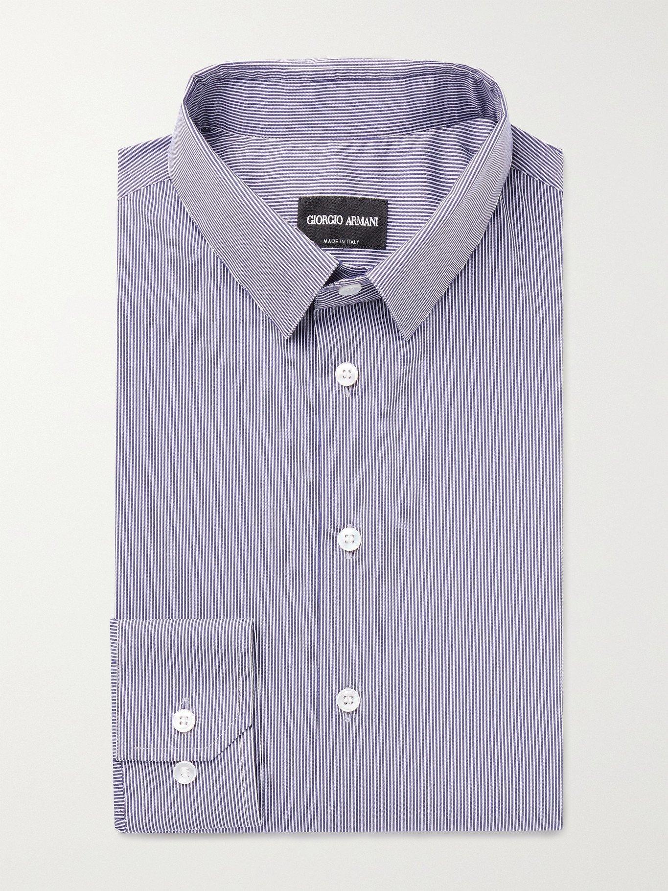 GIORGIO ARMANI - Slim-Fit Pinstriped Cotton-Blend Shirt - Blue