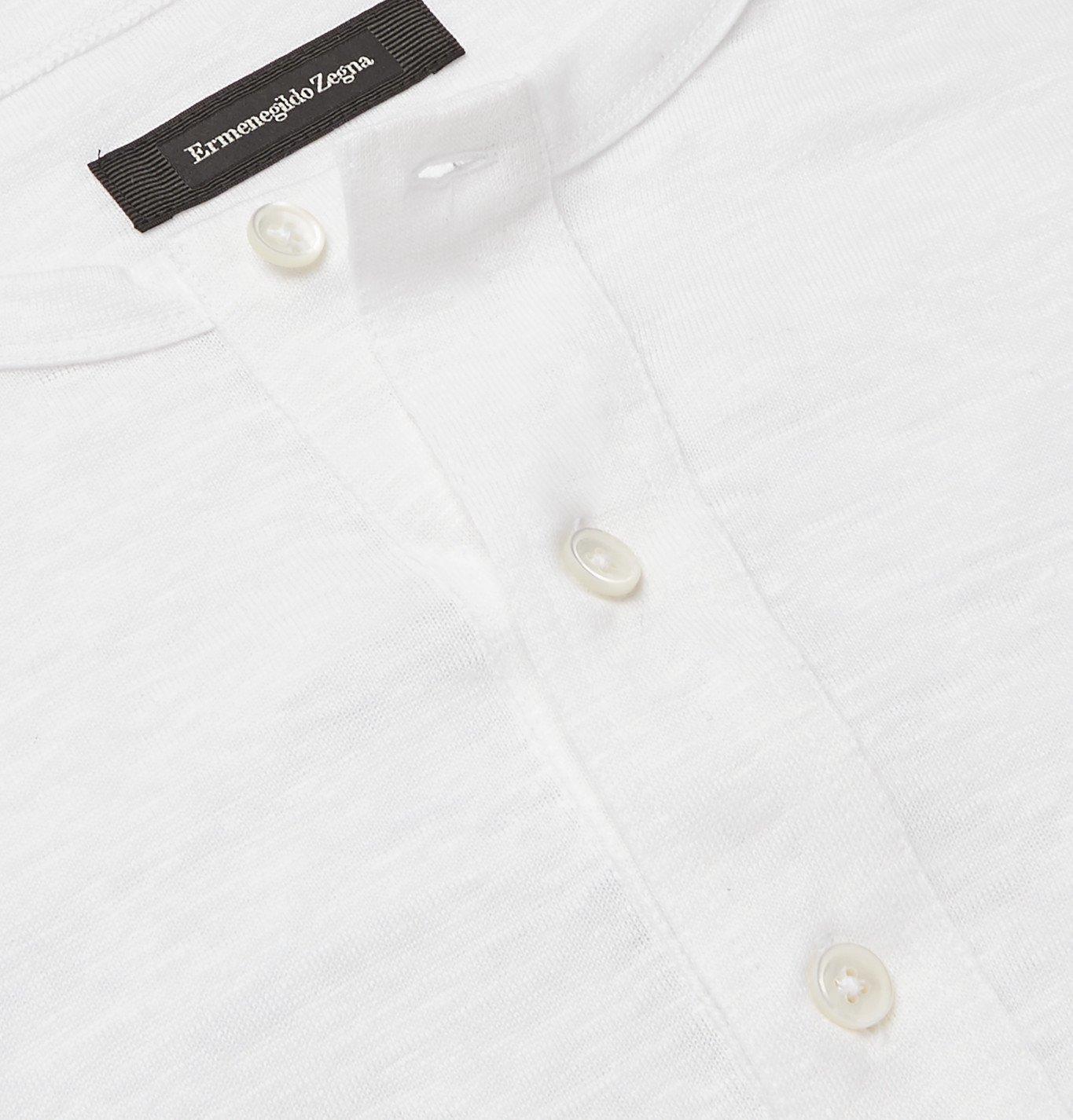 Ermenegildo Zegna - Slim-Fit Slub Linen Henley T-Shirt - White