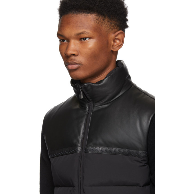 Bottega Veneta Black Leather and Nylon Down Vest