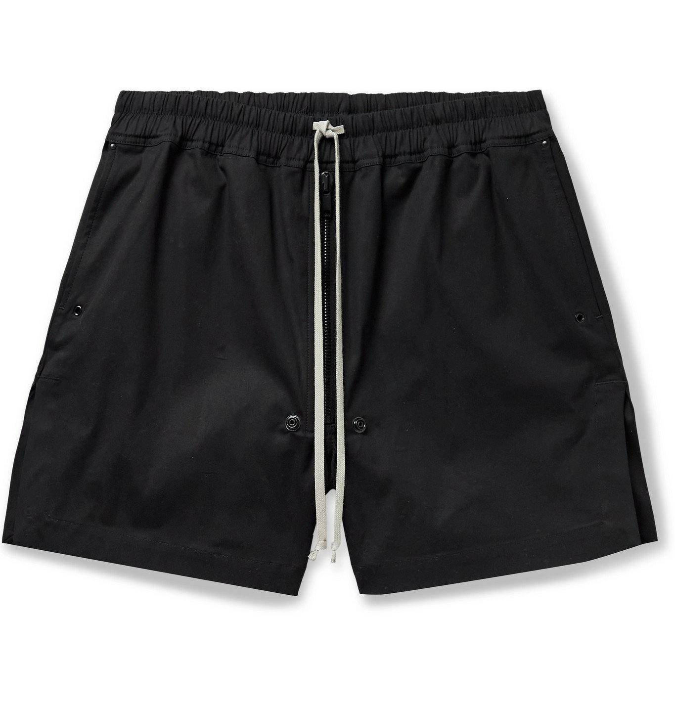 Photo: RICK OWENS - Phlegethon Cotton-Blend Drawstring Shorts - Black