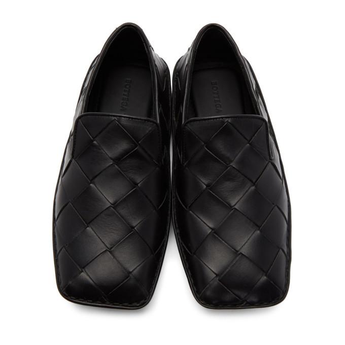 Bottega Veneta Black Intrecciato Douglas Loafers