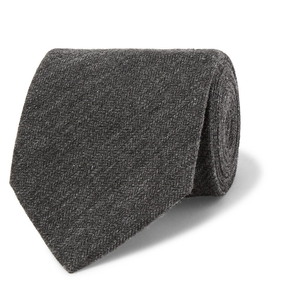 Dunhill - Herringbone Cashmere and Mulberry Silk-Blend Tie - Men - Charcoal
