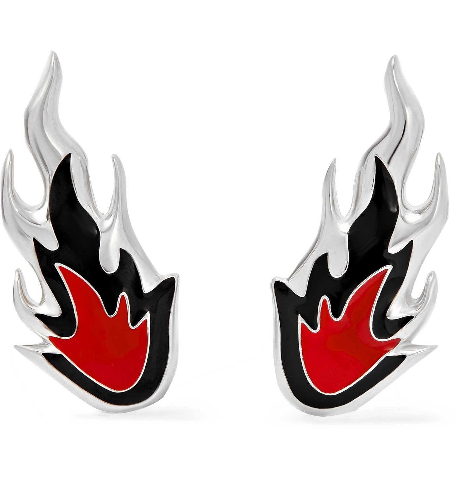 Photo: AMBUSH® - Flame Sterling Silver and Enamel Earrings - Silver