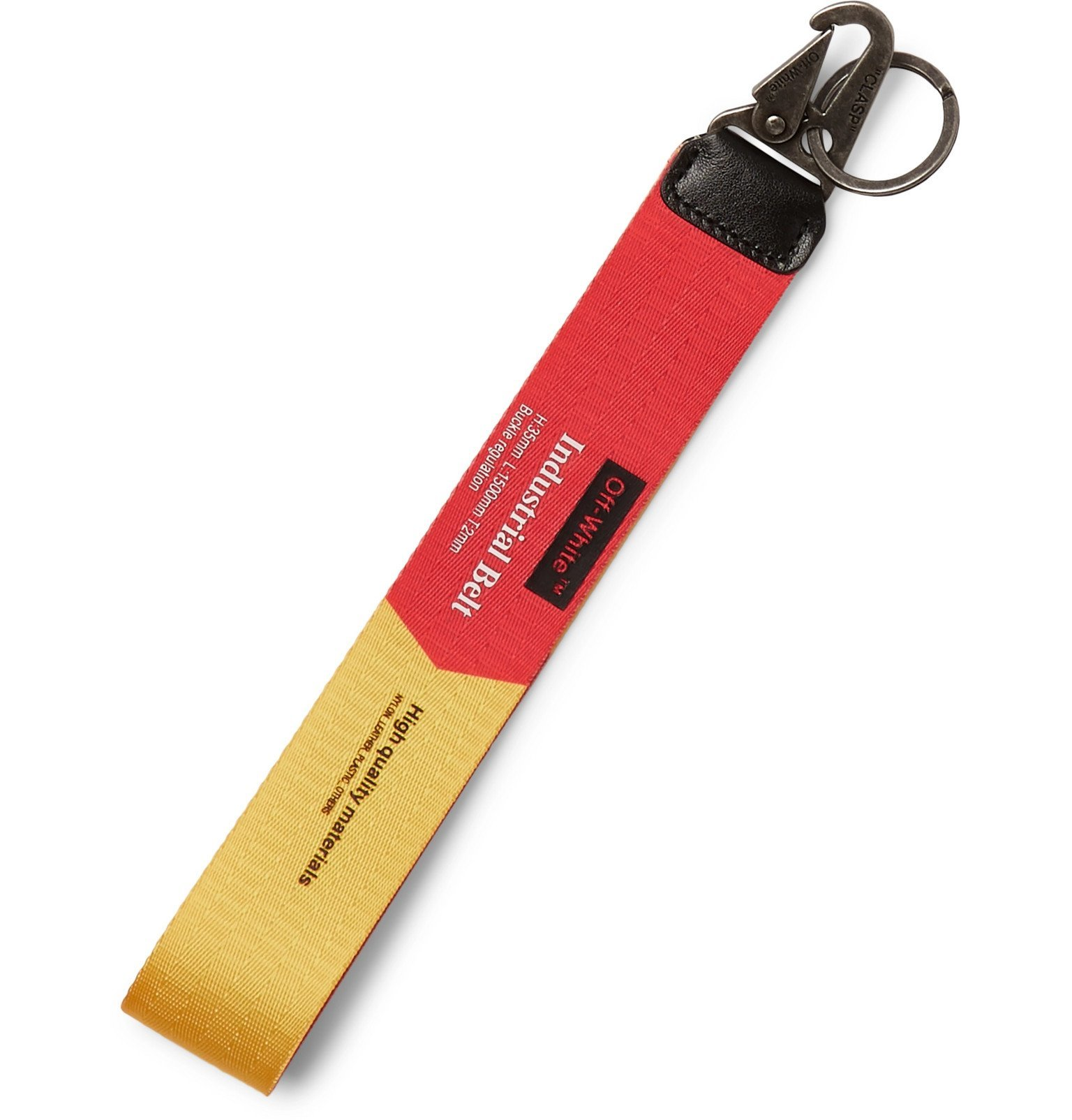 Photo: Off-White - Leather-Trimmed Printed Webbing Key Fob - Yellow