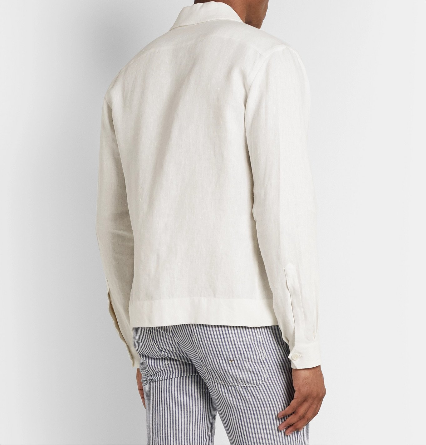 De Petrillo - Linen Bomber Jacket - White