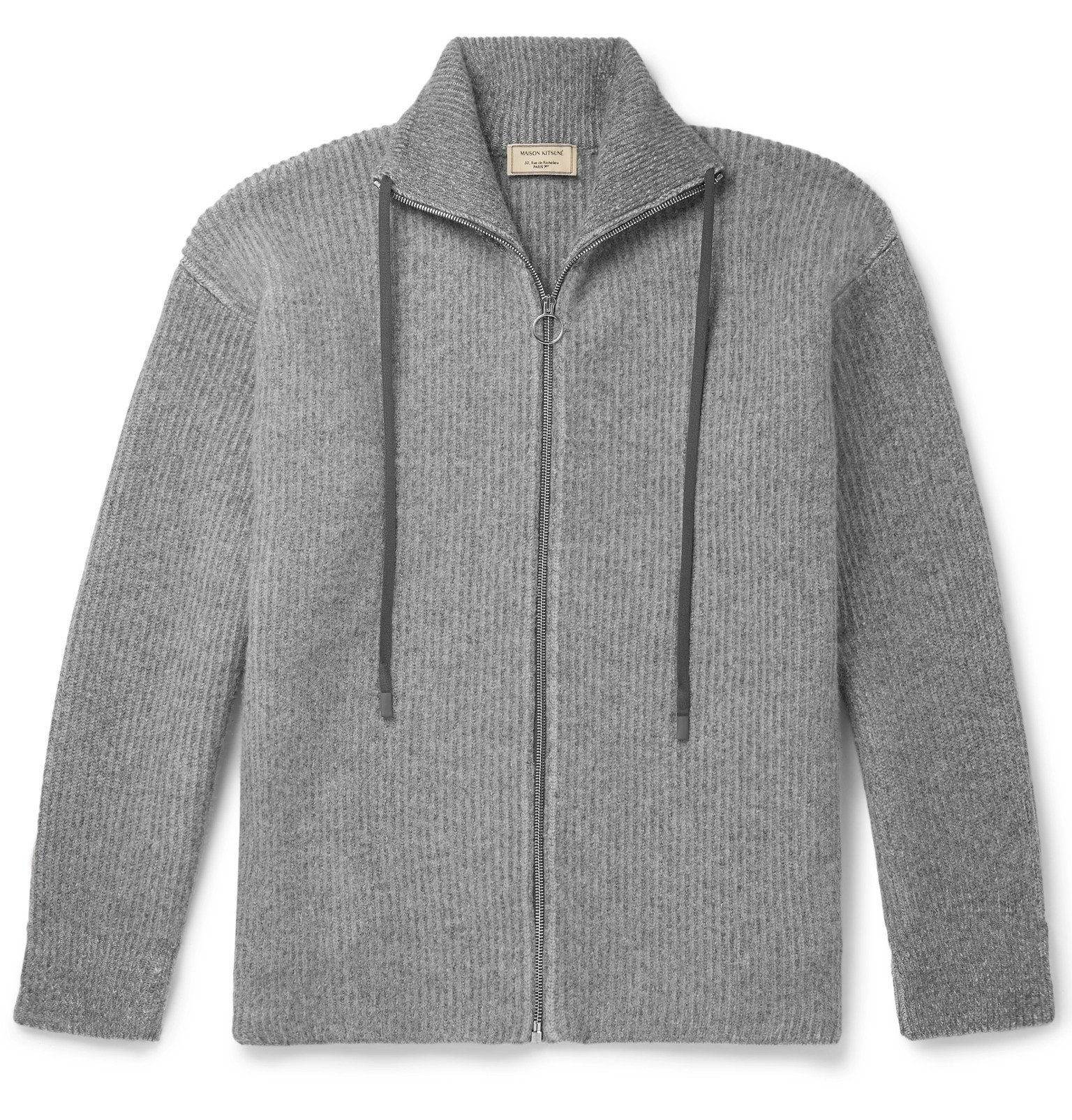 Photo: Maison Kitsuné - Ribbed Lambswool Zip-Up Cardigan - Gray
