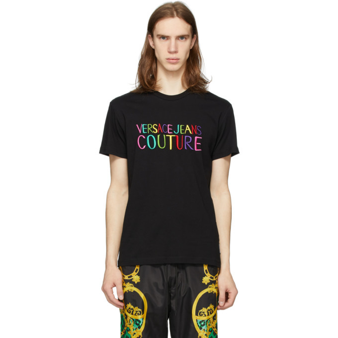 Photo: Versace Jeans Couture Black Embroidered Logo T-Shirt