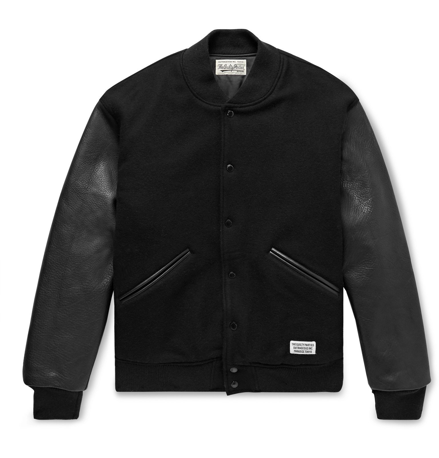 Photo: Wacko Maria - Leather and Logo-Embroidered Wool and Cashmere-Blend Bomber Jacket - Black