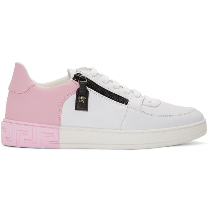 Photo: Versace White and Pink Greek Sneakers