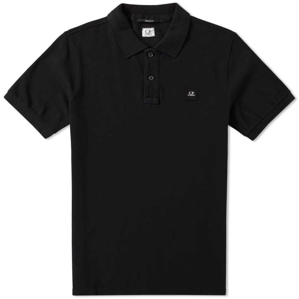 C.P. Company Garment Dyed Pique Polo Black