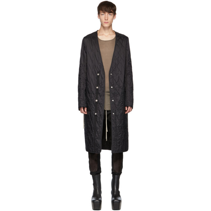 Photo: Rick Owens Black Long Quilted Liner Coat