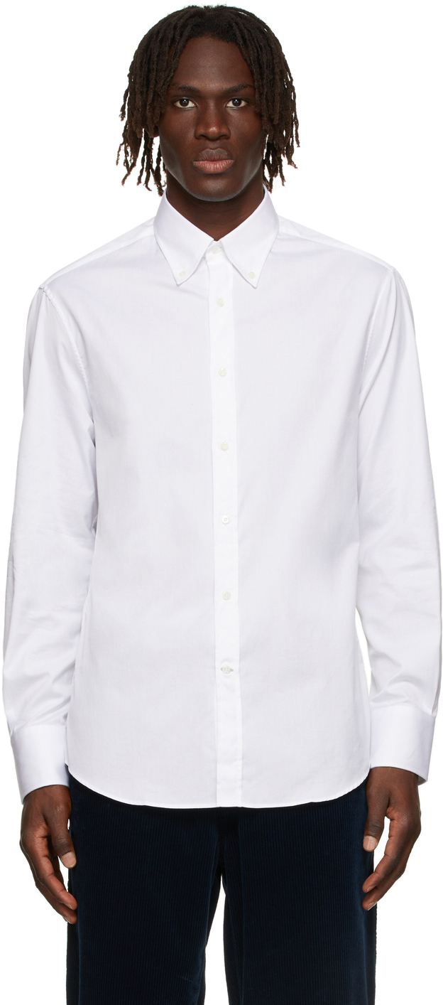 Photo: Brunello Cucinelli White Twill Button-Down Shirt