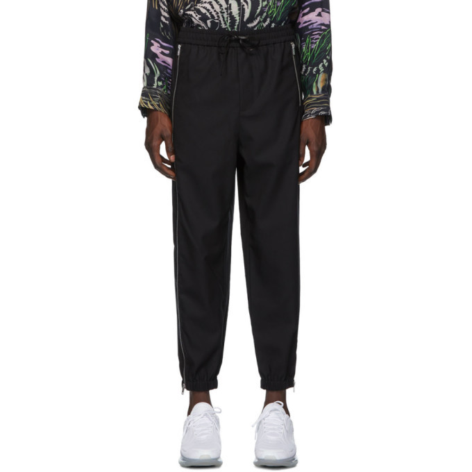 3.1 Phillip Lim Black Wool Zipper Track Lounge Pants