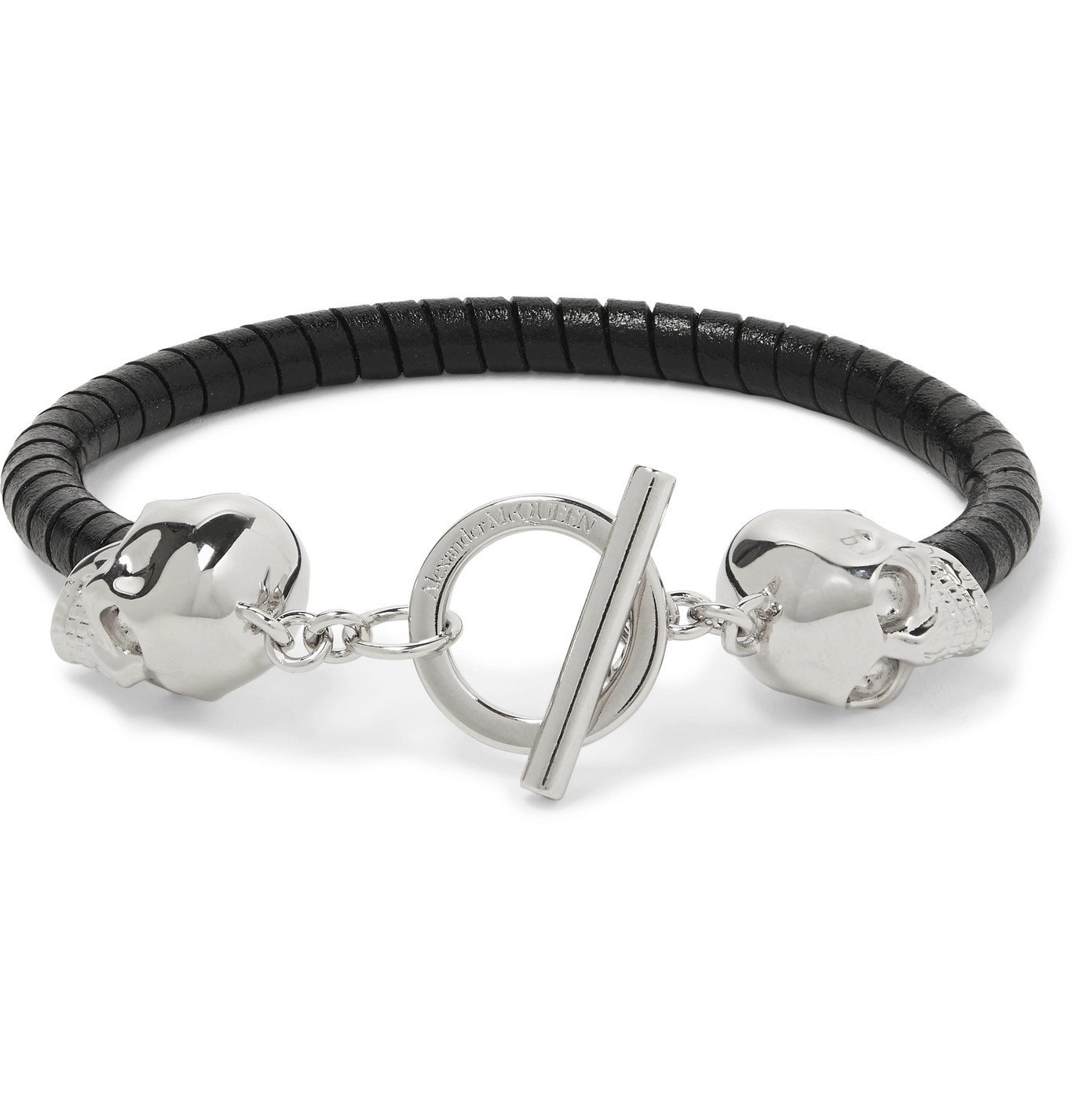 Photo: Alexander McQueen - Silver-Tone and Leather Bracelet - Black