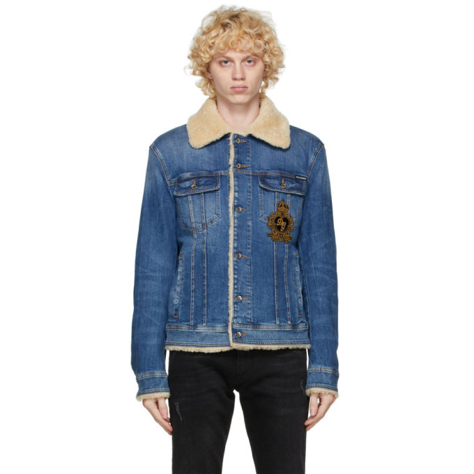 Photo: Dolce and Gabbana Blue Denim Shearling Jacket
