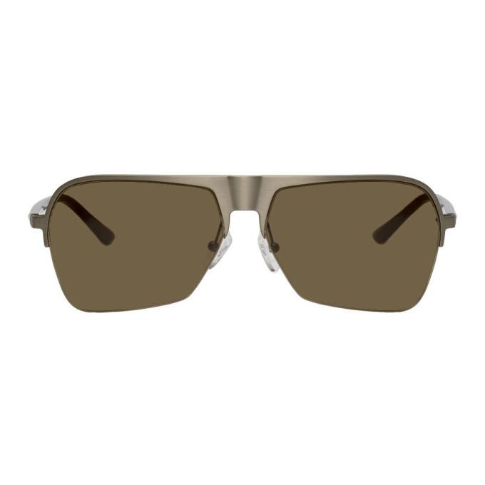 Photo: Dries Van Noten Silver and Grey Linda Farrow Edition 192 C3 Aviator Sunglasses