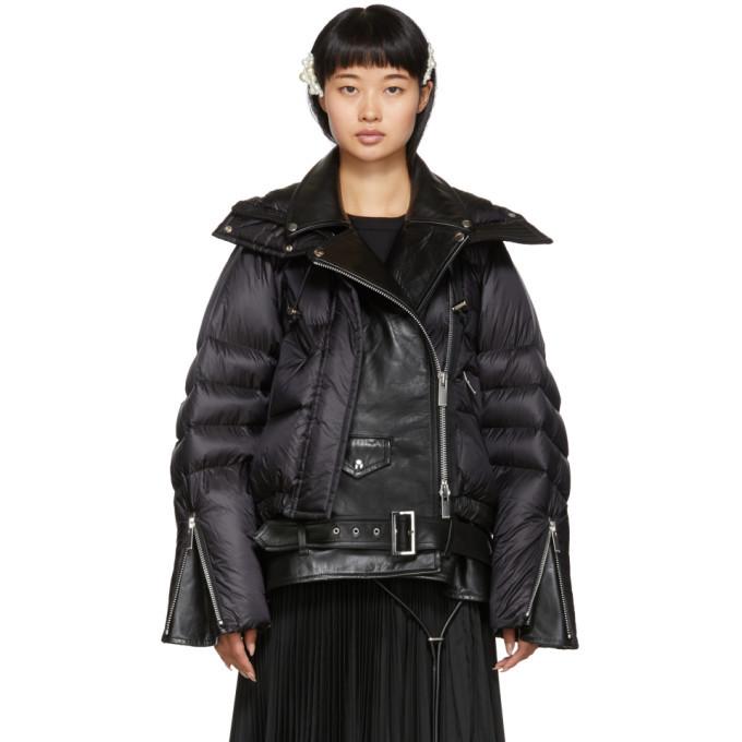 Sacai Black Down Leather Biker Jacket