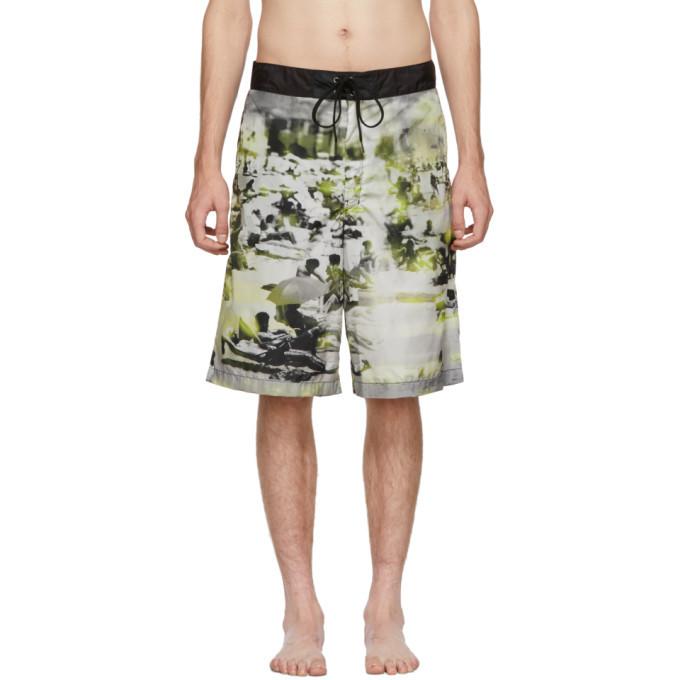 Photo: Prada Green and Grey Beach Feather Swim Shorts