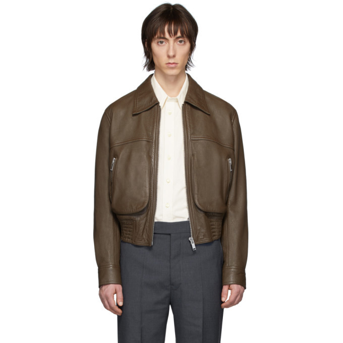 Photo: Lemaire Brown Leather Blouson Jacket