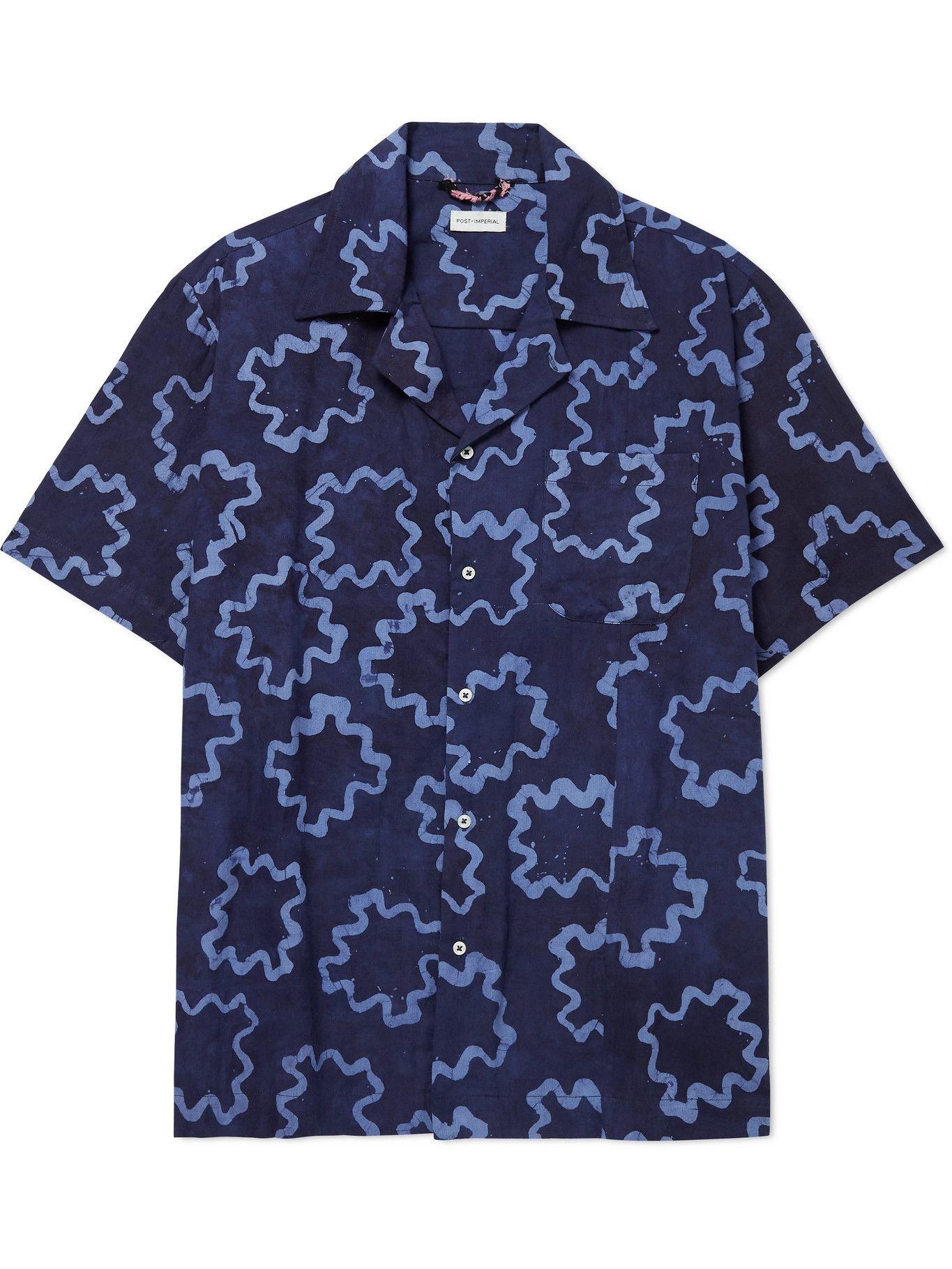 Photo: Post-Imperial - Ijebu Camp-Collar Cotton Shirt - Blue
