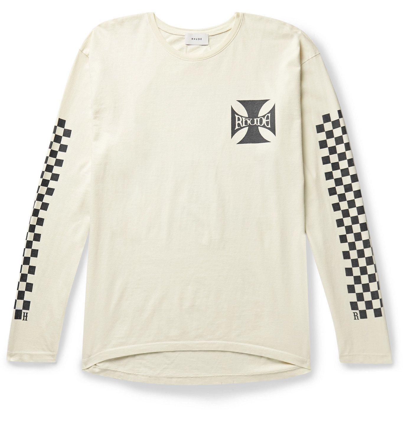 Photo: Rhude - Printed Cotton-Jersey T-Shirt - Neutrals
