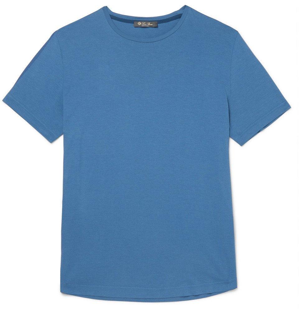 Photo: Loro Piana - Slim-Fit Silk and Cotton-Blend Jersey T-Shirt - Blue