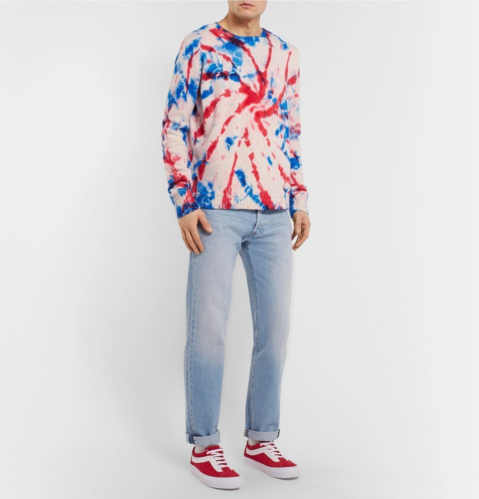 The Elder Statesman - Tie-Dyed Intarsia Cashmere Sweater - Multi
