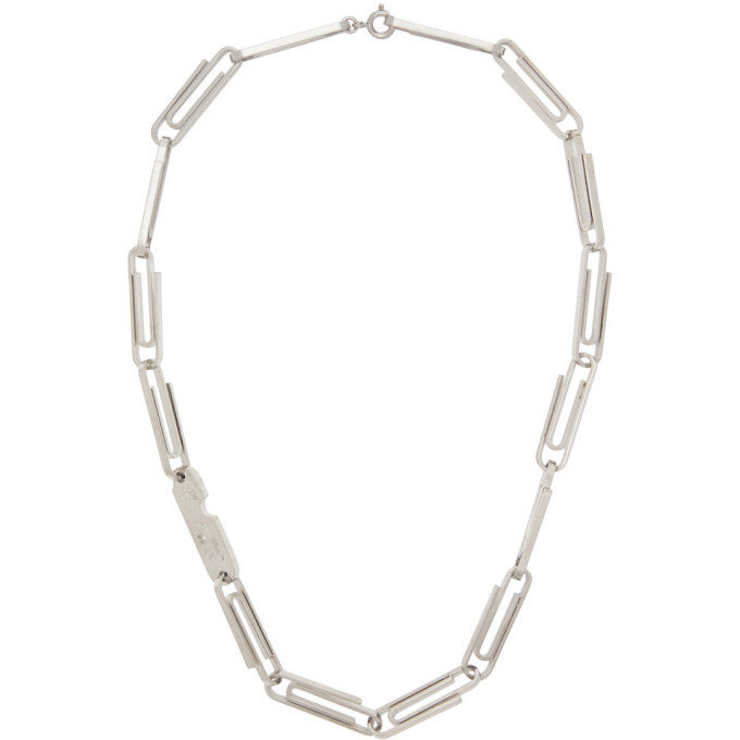 Photo: Off-White Silver Short Multi Paperclip Necklace