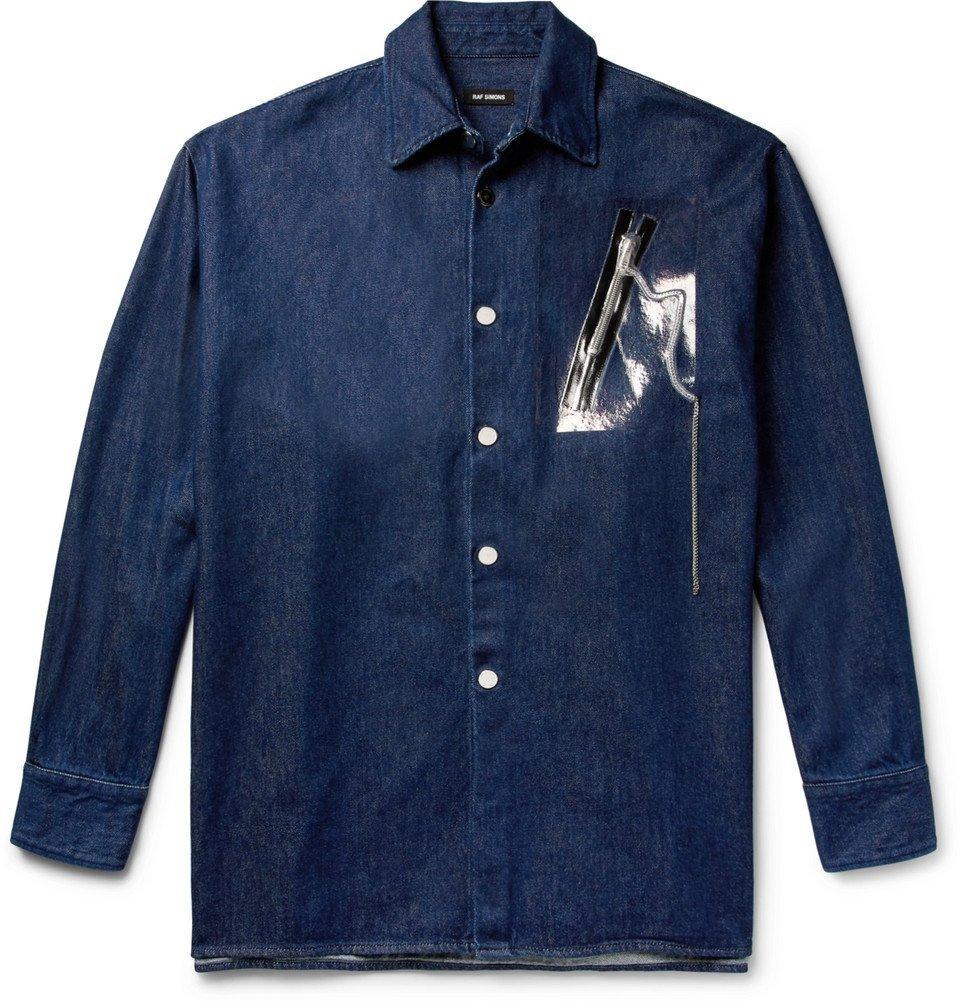 Raf Simons - Oversized Embellished Denim Overshirt - Dark denim