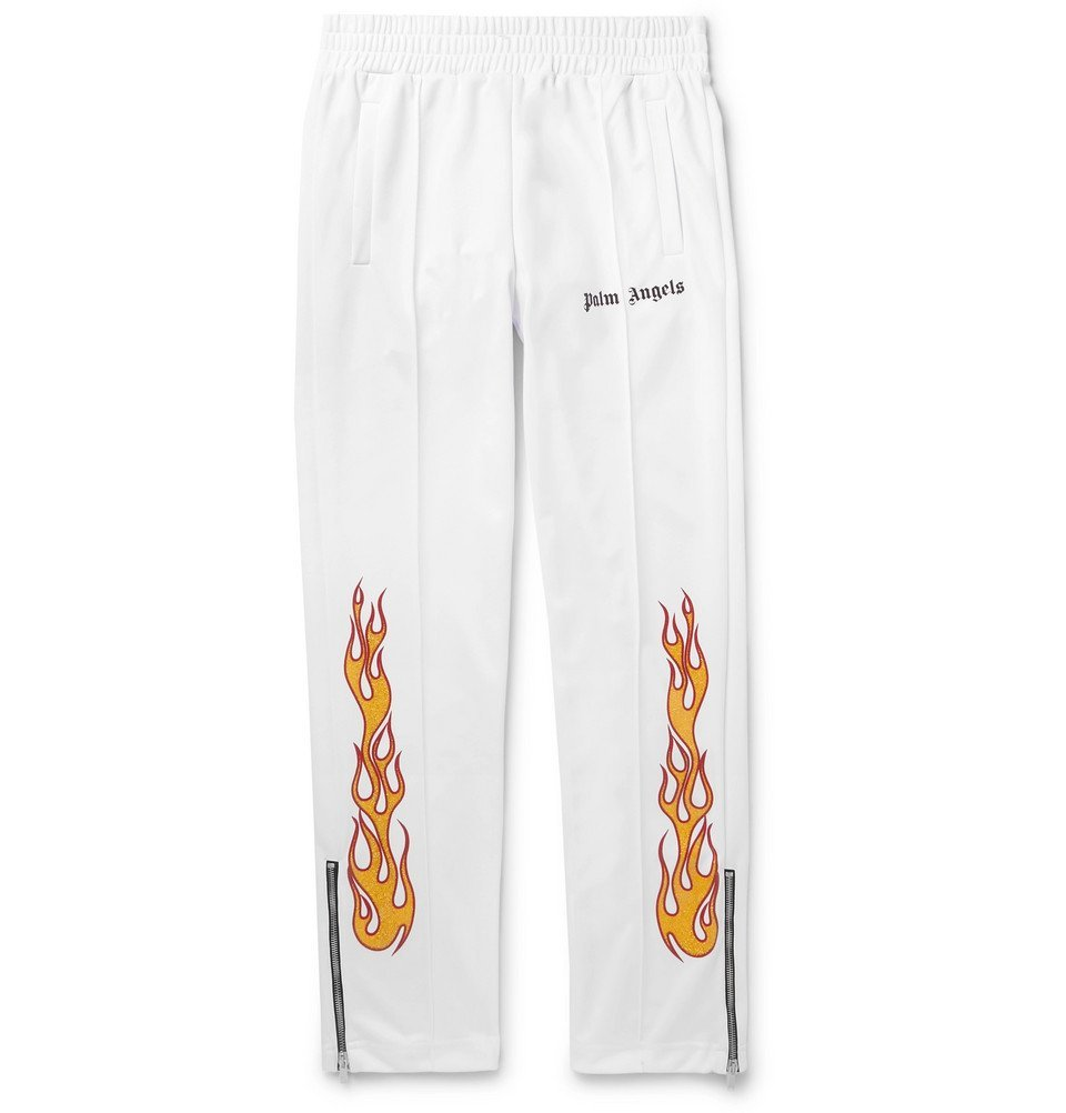 Photo: Palm Angels - Tapered Glittered-Print Tech-Jersey Track Pants - White