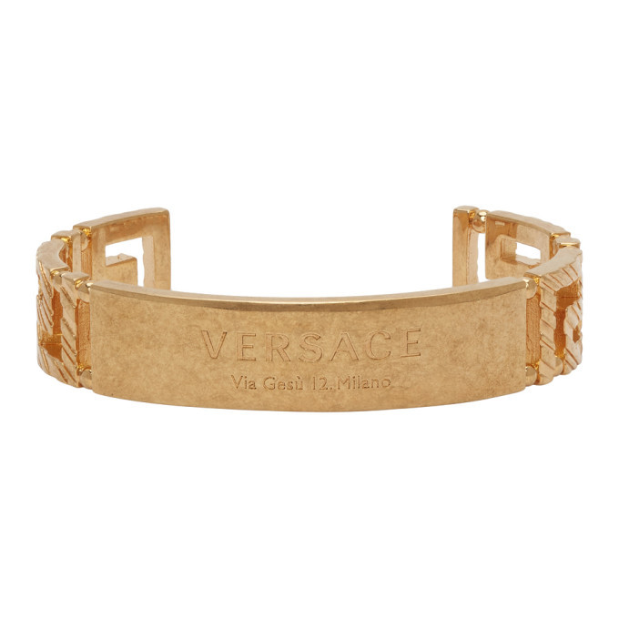 Photo: Versace Gold Address Plate Bracelet