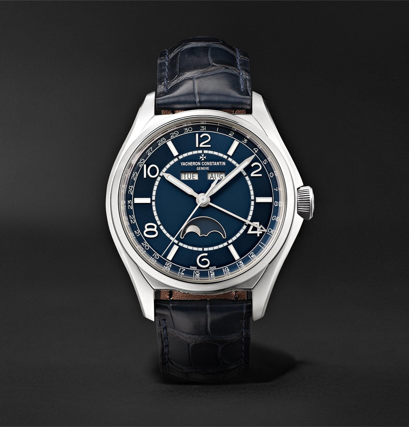 Photo: Vacheron Constantin - Fiftysix Automatic Complete Calendar 40mm Stainless Steel and Alligator Watch, Ref. No. 4000E/000A-B548 - Blue