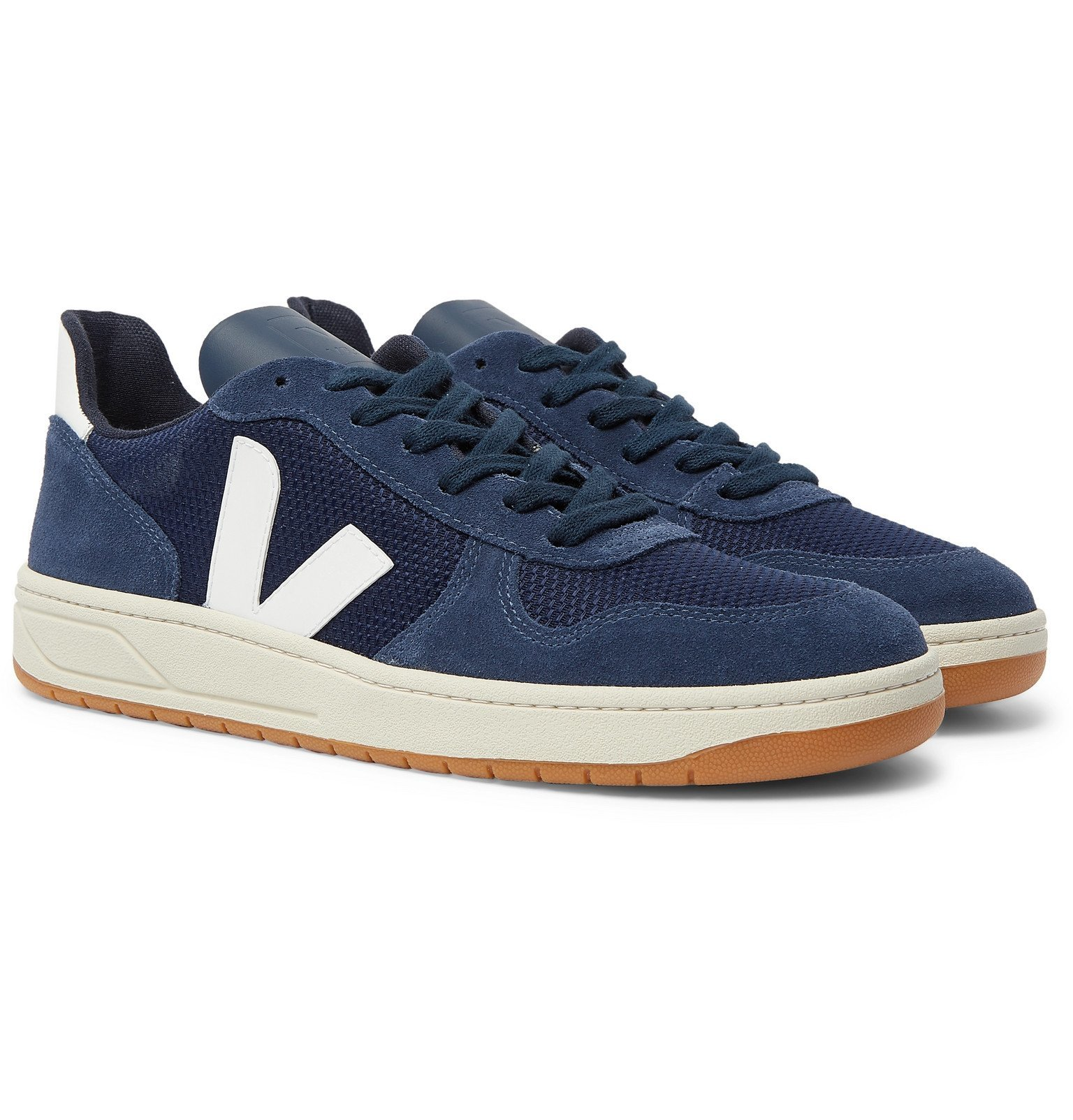 Photo: Veja - V-10 Leather-Trimmed Mesh and Suede Sneakers - Blue