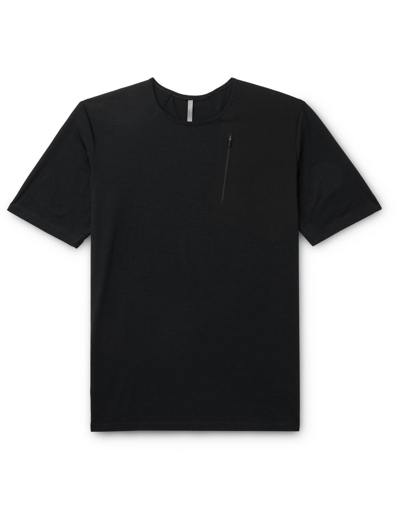 VEILANCE - Frame Merino Wool-Blend Jersey and Stretch-Nylon T-Shirt - Black