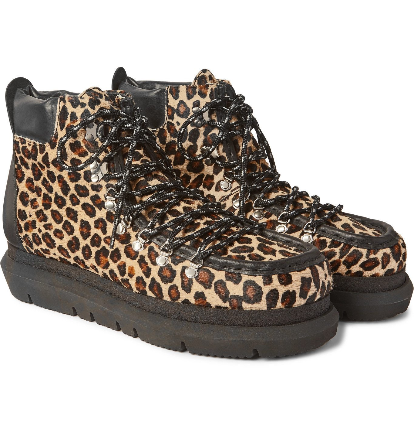 Sacai - Leopard-Print Leather-Trimmed Calf Hair Boots - Brown