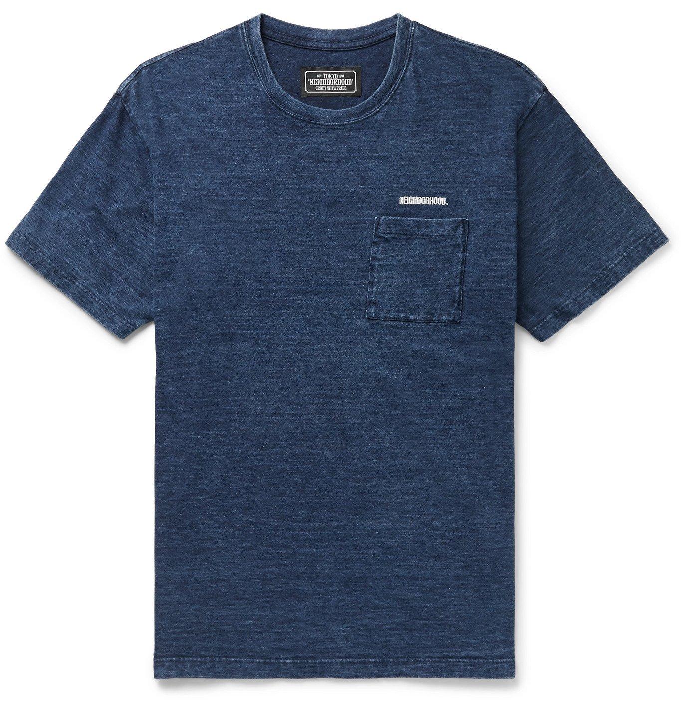 Photo: Neighborhood - Logo-Embroidered Mélange Cotton-Jersey T-Shirt - Blue