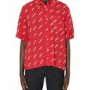 Aries Logo Print Bowling Short Sleeve Shirt Red