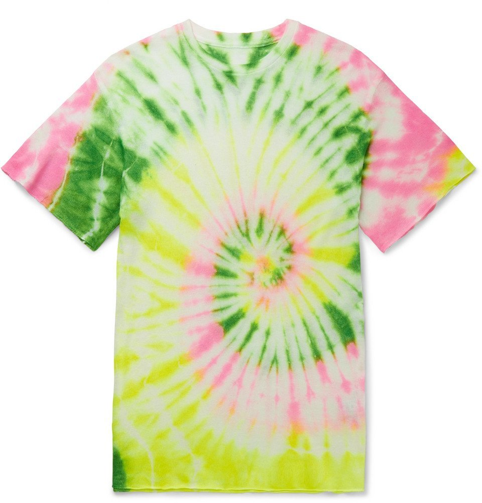 The Elder Statesman - Slim-Fit Neon Tie-Dyed Cashmere and Silk-Blend T-Shirt - Multi
