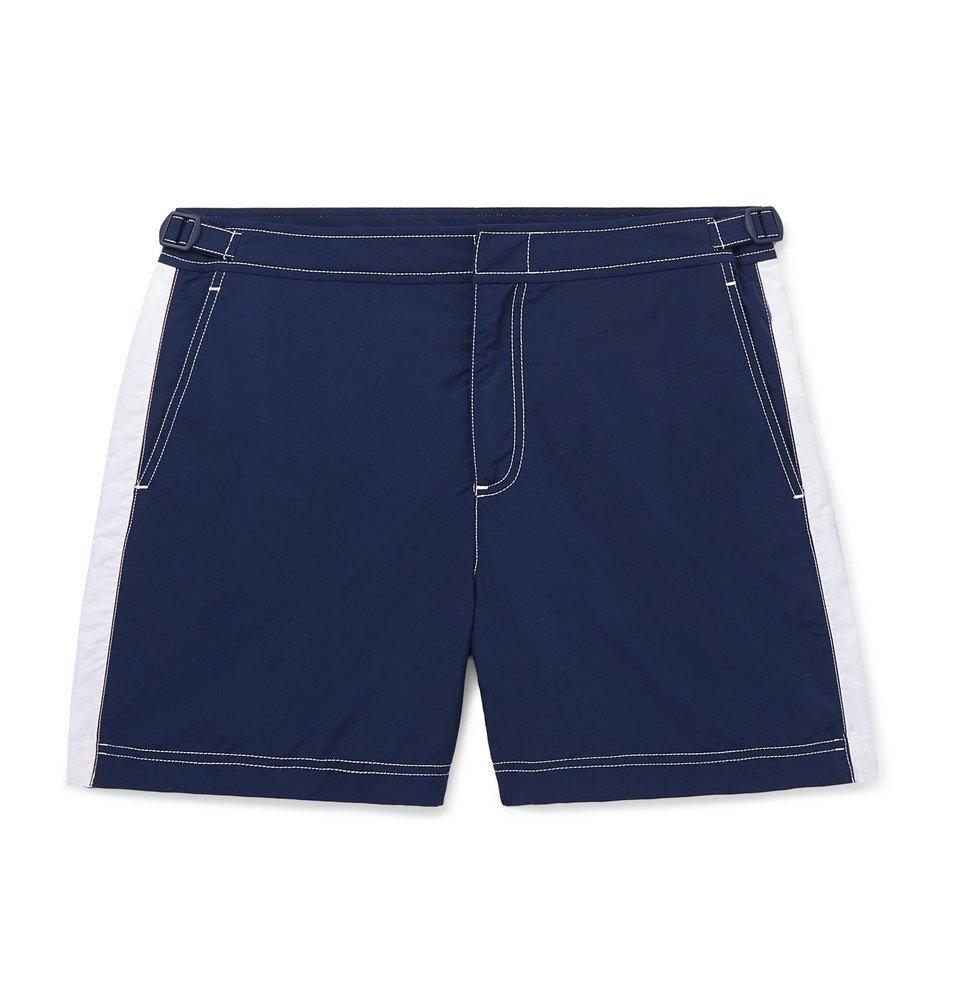 Photo: Orlebar Brown - Bulldog Mid-Length Striped Swim Shorts - Navy