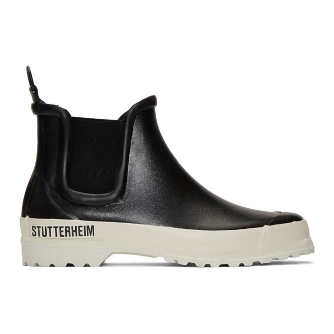 Photo: Stutterheim Black and White Rainwalker Chelsea Boots
