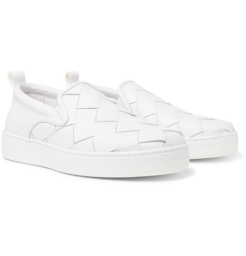 Photo: Bottega Veneta - Dodger Intrecciato Leather Slip-On Sneakers - White