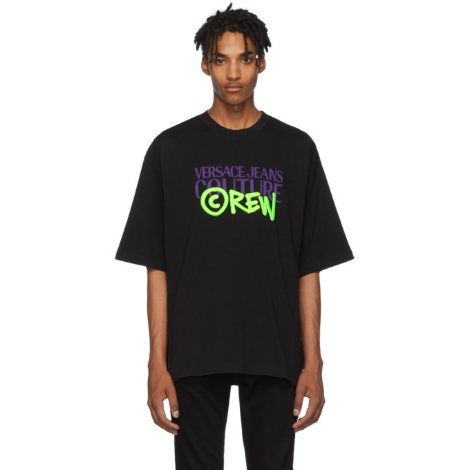 Photo: Versace Jeans Couture Black Oversize Crew Logo T-Shirt