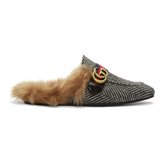 Photo: Gucci Black and White Herringbone Wool-Lined Princetown Slip-On Loafers